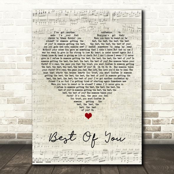 Foo Fighters Best Of You Script Heart Song Lyric Quote Music Print