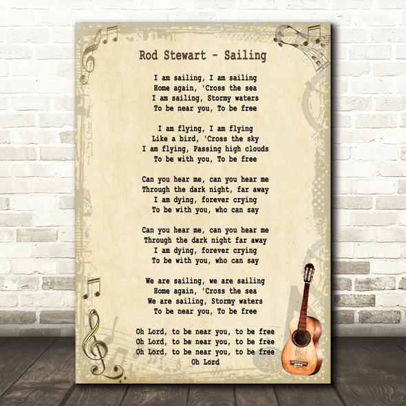 Rod Stewart Sailing Song Lyric Vintage Quote Print