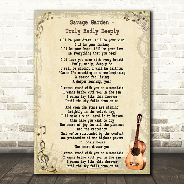 Savage Garden Truly madly Deeply Song Lyric Vintage Quote Print
