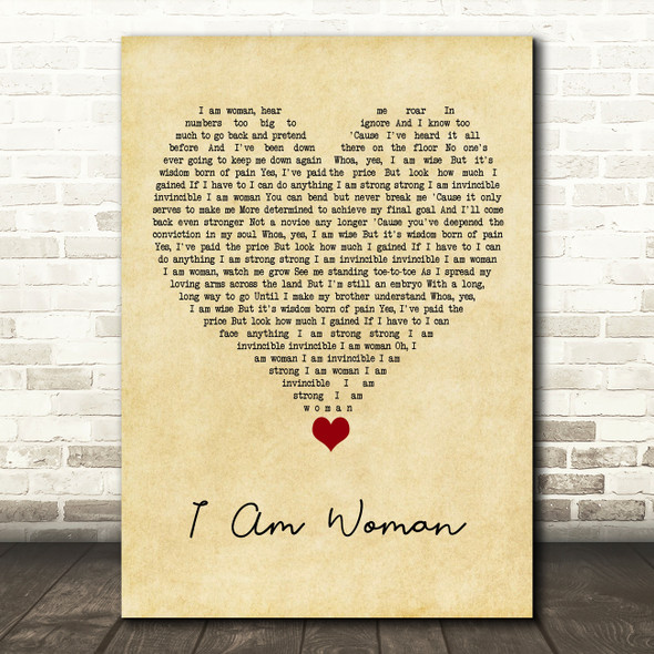 Helen Reddy I Am Woman Vintage Heart Song Lyric Quote Music Print