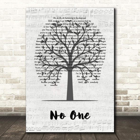 Jess Glynne No One Music Script Tree Song Lyric Quote Music Print