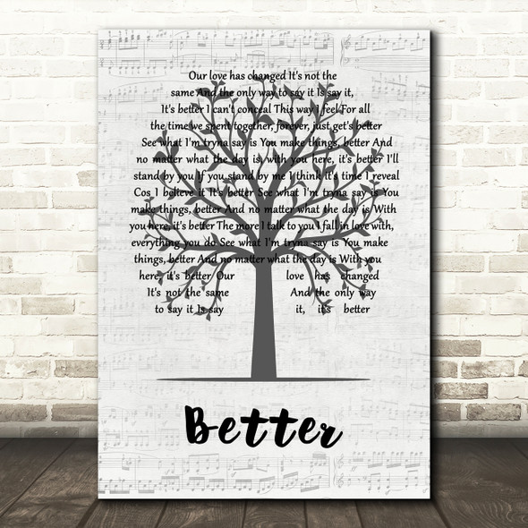 Tom Baxter Better Music Script Tree Song Lyric Quote Music Print
