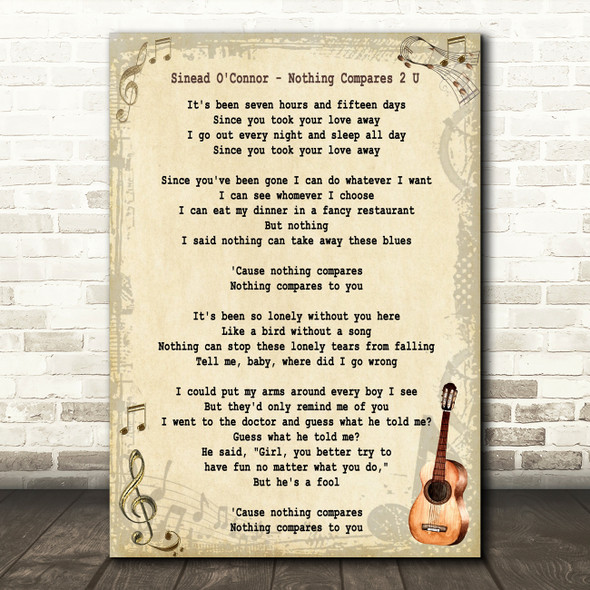Sinead O'Connor Nothing Compares 2 U Song Lyric Vintage Quote Print