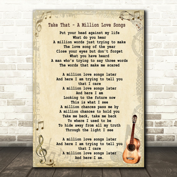 Take That A Million Love Songs Song Lyric Vintage Quote Print