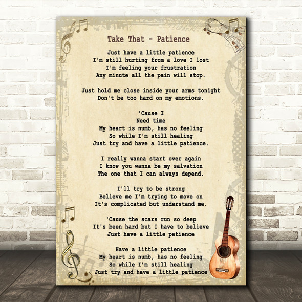 Take That Patience Song Lyric Vintage Quote Print