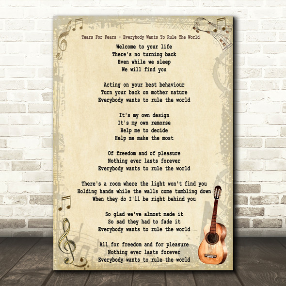 Tears For Fears Everybody Wants To Rule The World Song Lyric Vintage Quote Print