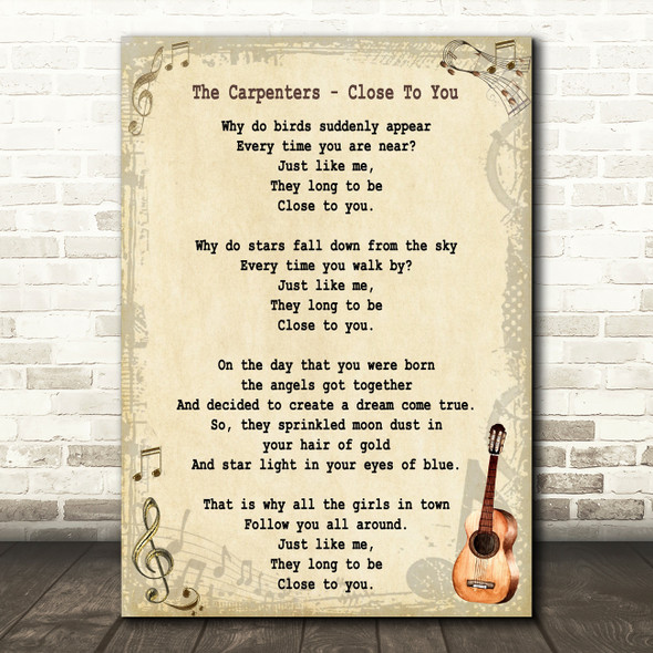 The Carpenters Close To You Song Lyric Vintage Quote Print