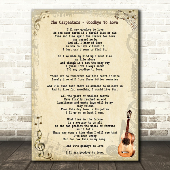 The Carpenters Goodbye To Love Song Lyric Vintage Quote Print