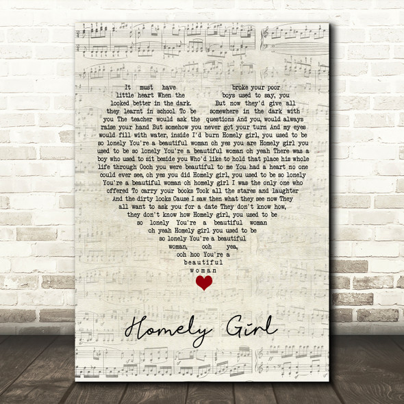 UB40 Homely Girl Script Heart Song Lyric Quote Music Print