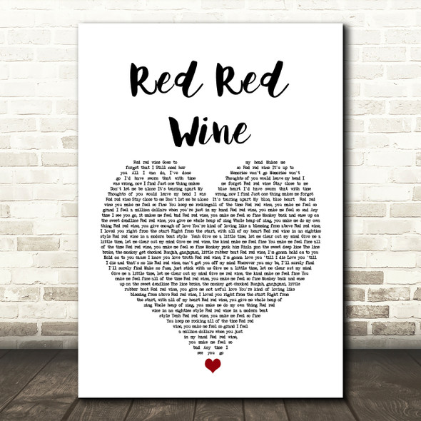 UB40 Red Red Wine White Heart Song Lyric Quote Music Print