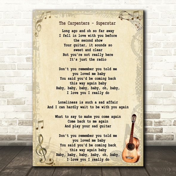 The Carpenters Superstar Song Lyric Vintage Quote Print