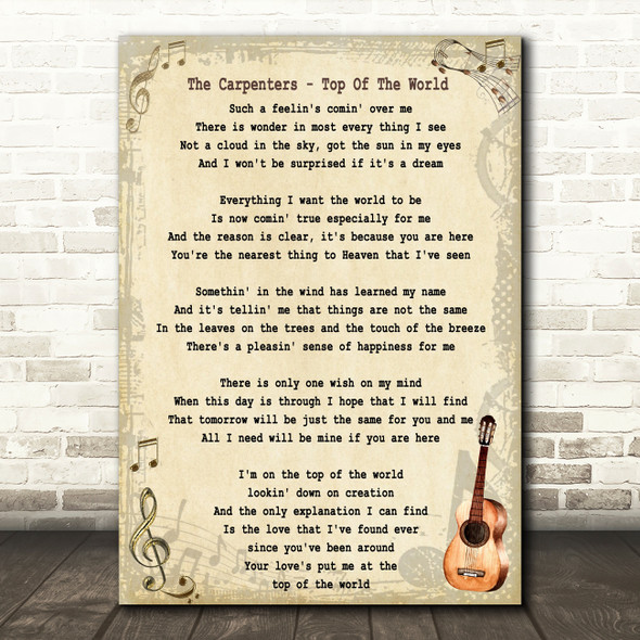 The Carpenters Top Of The World Song Lyric Vintage Quote Print