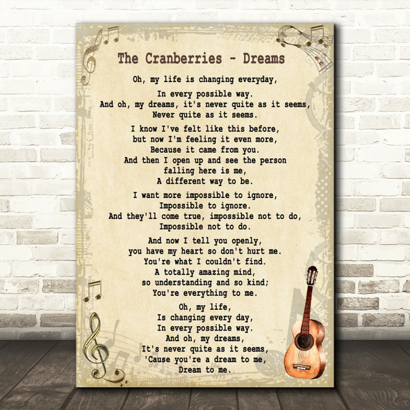The Cranberries Dreams Song Lyric Vintage Quote Print