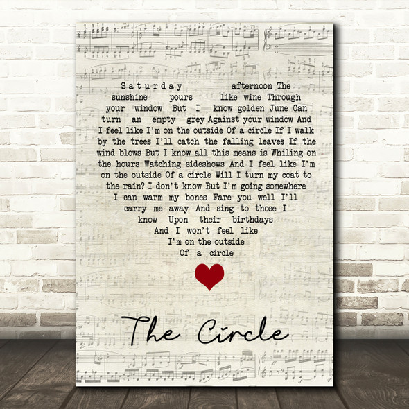 Ocean Colour Scene The Circle Script Heart Song Lyric Quote Music Print