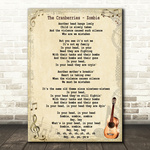 The Cranberries Zombie Song Lyric Vintage Quote Print