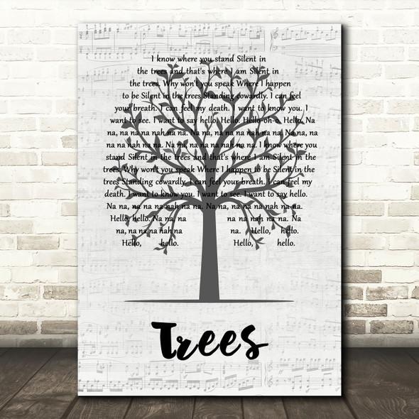 Twenty One Pilots Trees Music Script Tree Song Lyric Quote Music Print