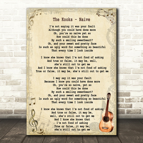 The Kooks Naive Song Lyric Vintage Quote Print