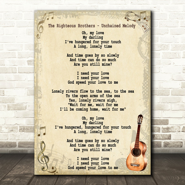 The Righteous Brothers Unchained Melody Song Lyric Vintage Quote Print
