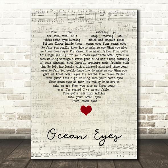 Billie Eilish Ocean Eyes Script Heart Song Lyric Quote Music Print