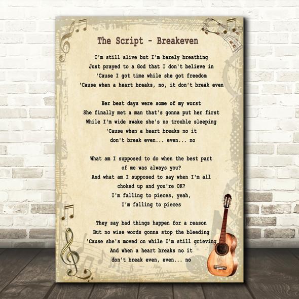 The Script Breakeven Song Lyric Vintage Quote Print