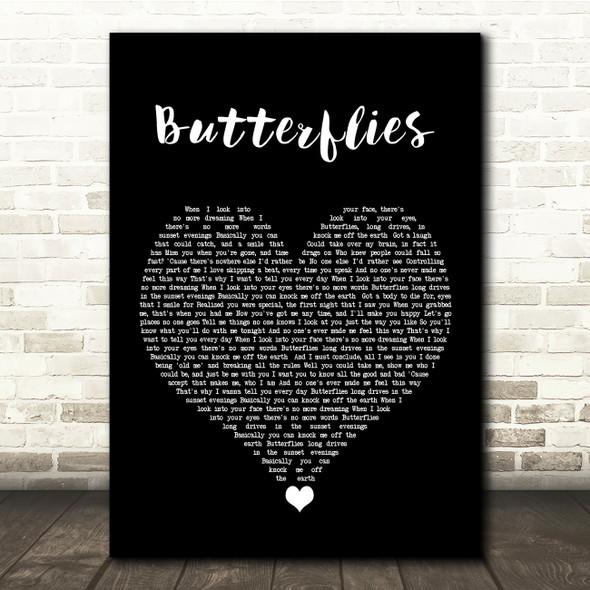 Lucy Spraggan Butterflies Black Heart Song Lyric Quote Music Print
