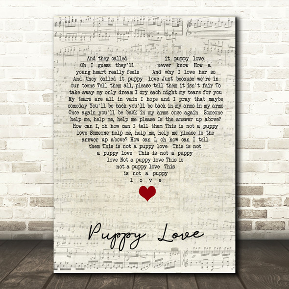 Donny Osmond Puppy Love Script Heart Song Lyric Quote Music Print