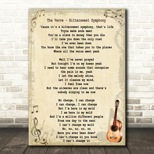The Verve Bittersweet Symphony Song Lyric Vintage Quote Print