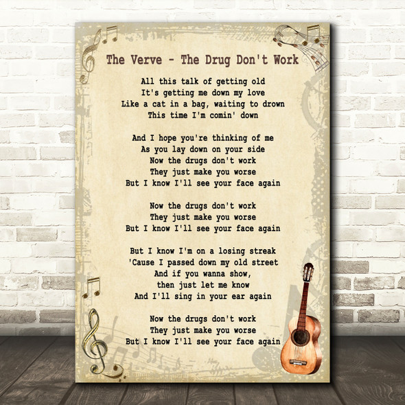 The Verve The Drug Don't Work Song Lyric Vintage Quote Print