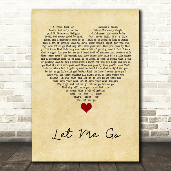Gary Barlow Let Me Go Vintage Heart Song Lyric Quote Music Print