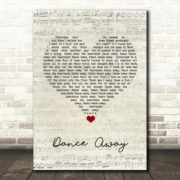Roxy Music Dance Away Script Heart Song Lyric Quote Music Print