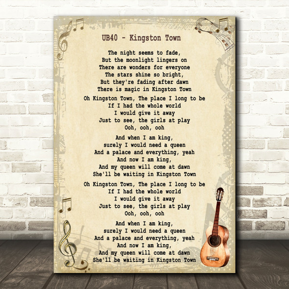 UB40 Kingston Town Song Lyric Vintage Quote Print