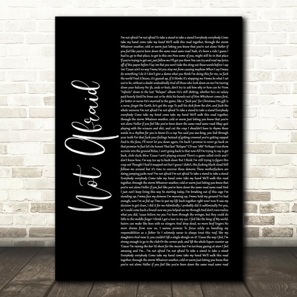Eminem Not Afraid Black Script Song Lyric Quote Music Print