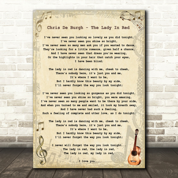 Chris De Burgh - The Lady In Red Song Lyric Guitar Quote Print