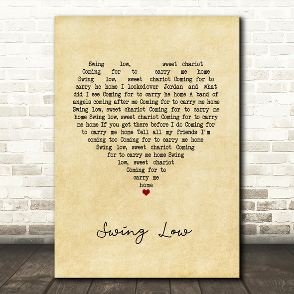 UB40 Swing Low Vintage Heart Song Lyric Quote Music Print