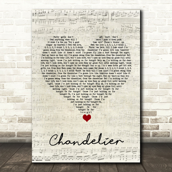 Sia Chandelier Script Heart Song Lyric Quote Music Print