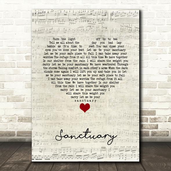 Nashville Cast ft. Charles Esten, Lennon & Maisy Sanctuary Script Heart Song Lyric Quote Music Print