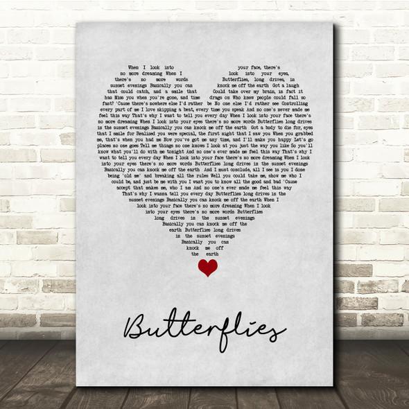 Lucy Spraggan Butterflies Grey Heart Song Lyric Quote Music Print