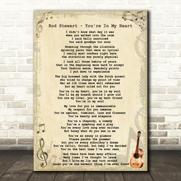 Rod Stewart - You're In My Heart Song Lyric Guitar Quote Print