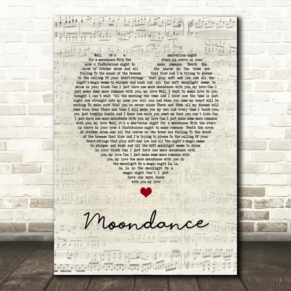 Van Morrison Moondance Script Heart Song Lyric Quote Music Print
