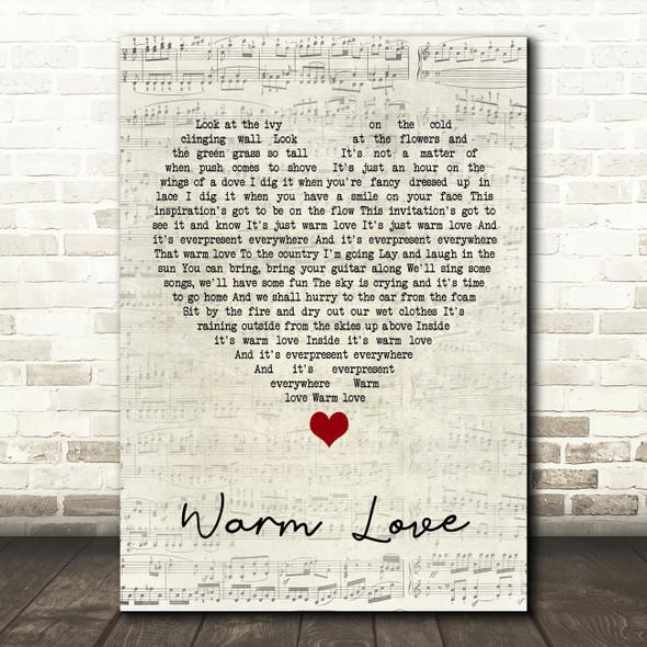 Van Morrison Warm Love Script Heart Song Lyric Quote Music Print