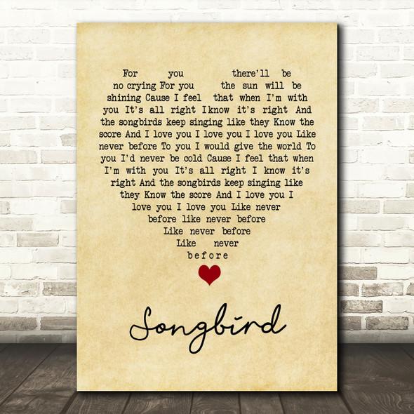Eva Cassidy Songbird Vintage Heart Song Lyric Quote Music Print