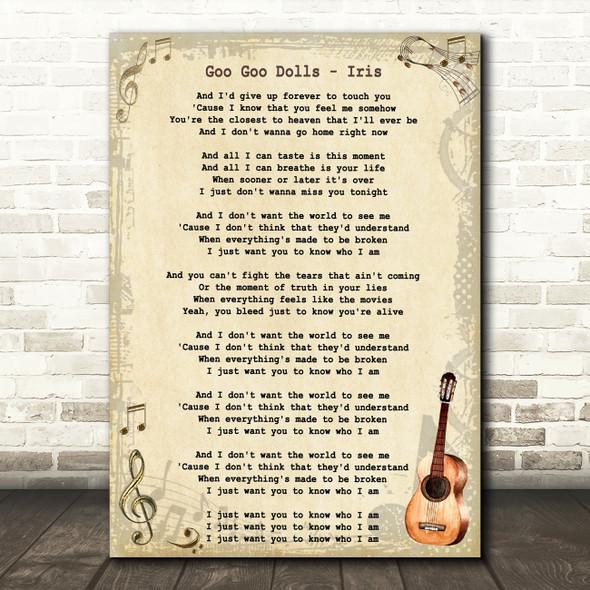 Goo Goo Dolls Iris Song Lyric Vintage Quote Print