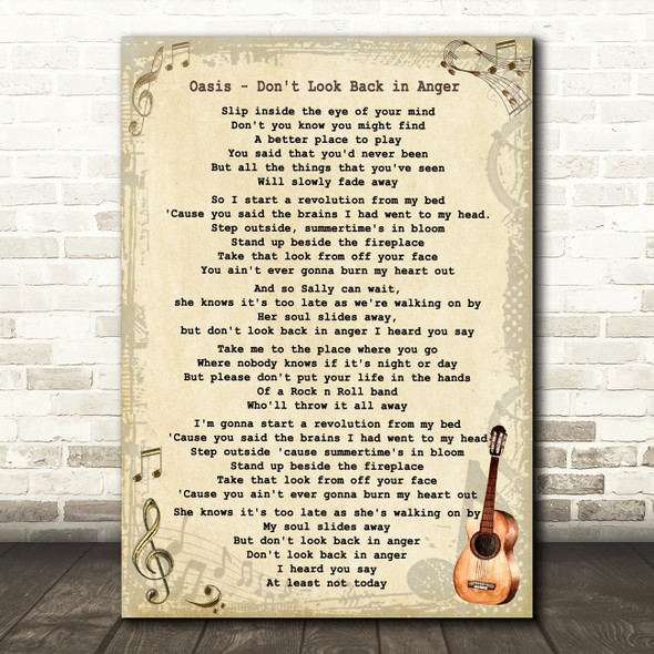 Oasis Don't Look Back in Anger Song Lyric Vintage Quote Print