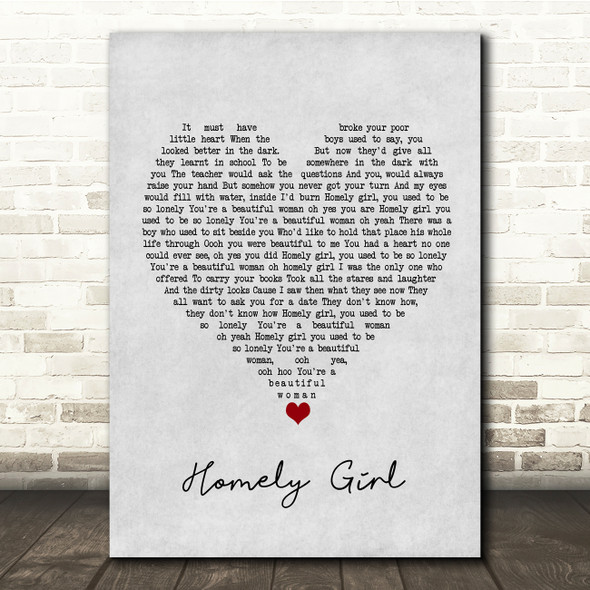 UB40 Homely Girl Grey Heart Song Lyric Quote Music Print