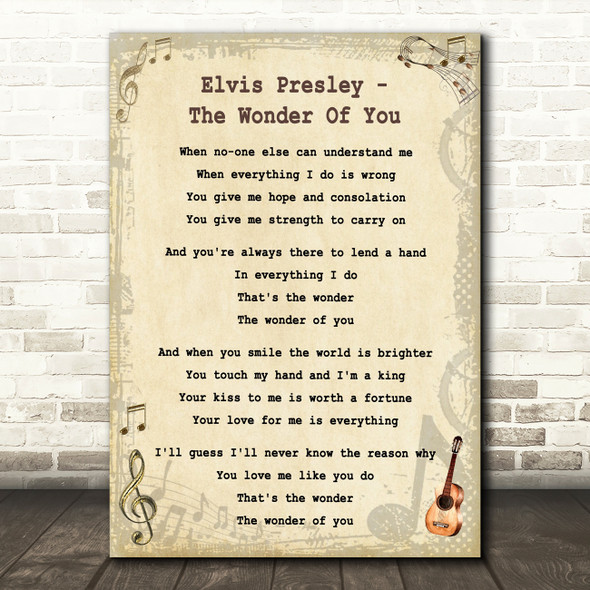 Elvis Presley The Wonder Of You Vintage Guitar Song Lyric Quote Print