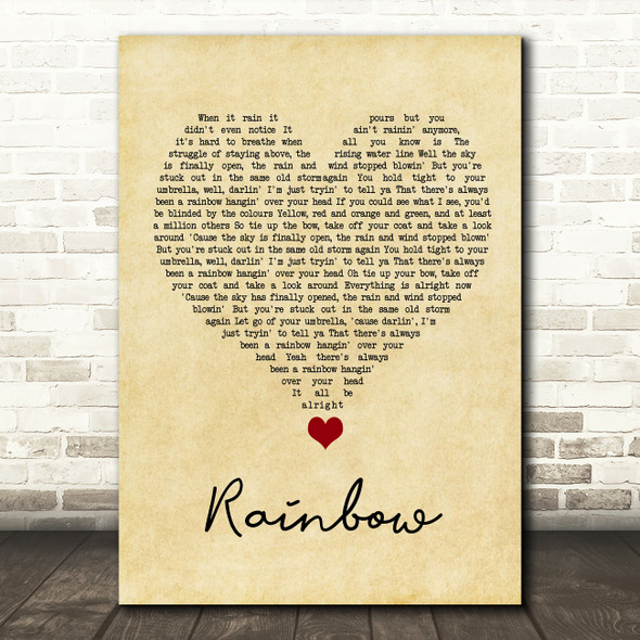 Kacey Musgraves Rainbow Vintage Heart Song Lyric Quote Music Print