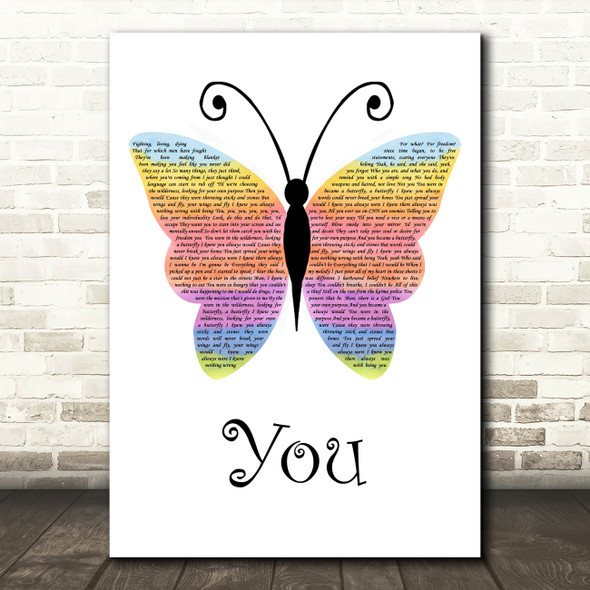 James Arthur You Rainbow Butterfly Song Lyric Quote Music Print