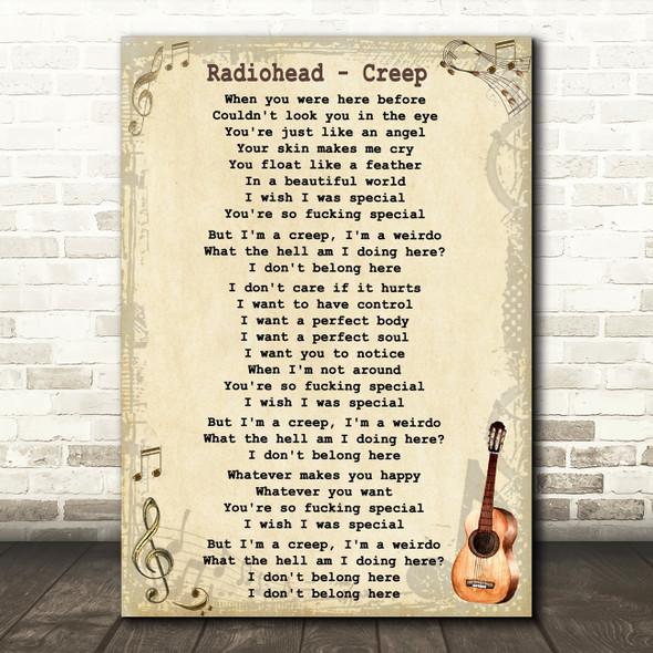 Radiohead Creep Song Lyric Vintage Quote Print