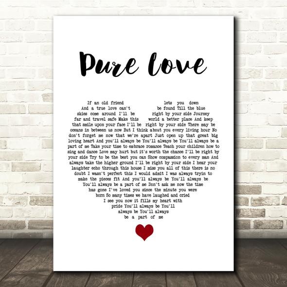Rod Stewart Pure Love White Heart Song Lyric Quote Music Print