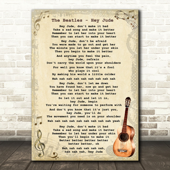 The Beatles Hey Jude Song Lyric Vintage Quote Print